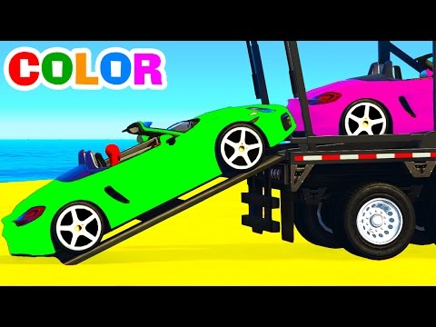 Thumbnail: SPORT CARS Transportation for Kids - Spiderman Cartoon with Colors for Children & Learning Video