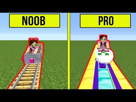 Minecraft: NOOB VS PRO!! - BUILDING A ROLLER COASTER! - Modded Challenge