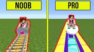 Minecraft: NOOB VS PRO!! - BUILDING A ROLLER COASTER! - Modded Challenge