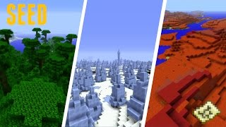 Minecraft - SEED : GRAND ICE SPIKE, JUNGLE ET BIOME MESA !