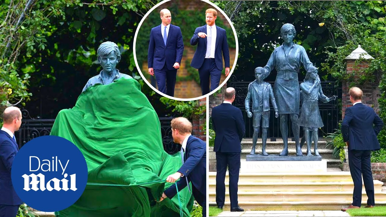 Princess Diana's feuding sons come together to unveil statue of their ...