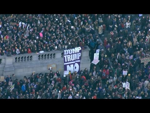 Anti-Trump demonstrations held in cities around the globe