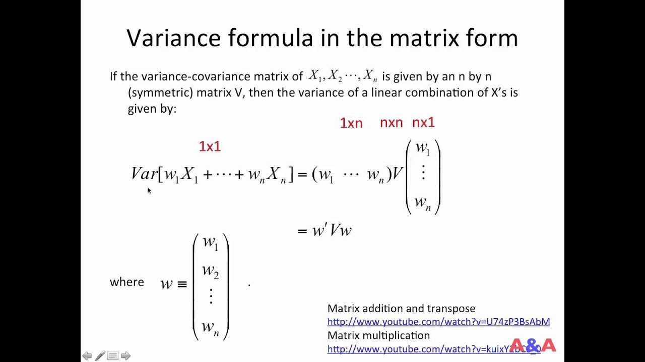 Variance formula in the matrix form - YouTube
