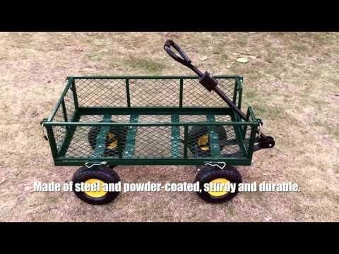 iKayaa Multi-use Heavy-duty Steel Utility Garden Cart Wagon