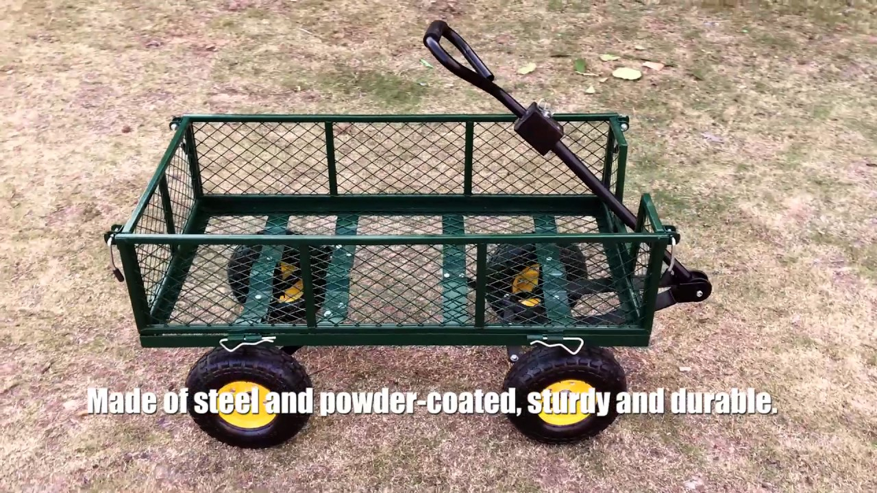 IKayaa Multi Use Heavy Duty Steel Utility Garden Cart Wagon