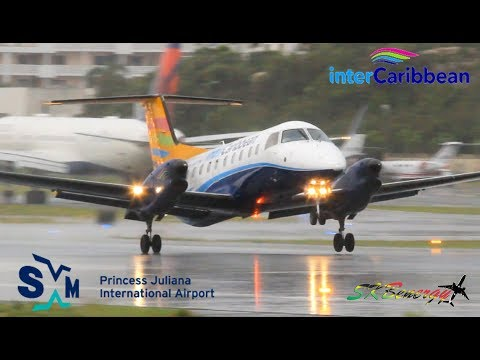 Wet Action !!! InterCaribbean Airways Embraer EMB 120 arrival - departure from St Maarten Airport