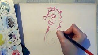 Учимся рисовать поэтапно морского конька