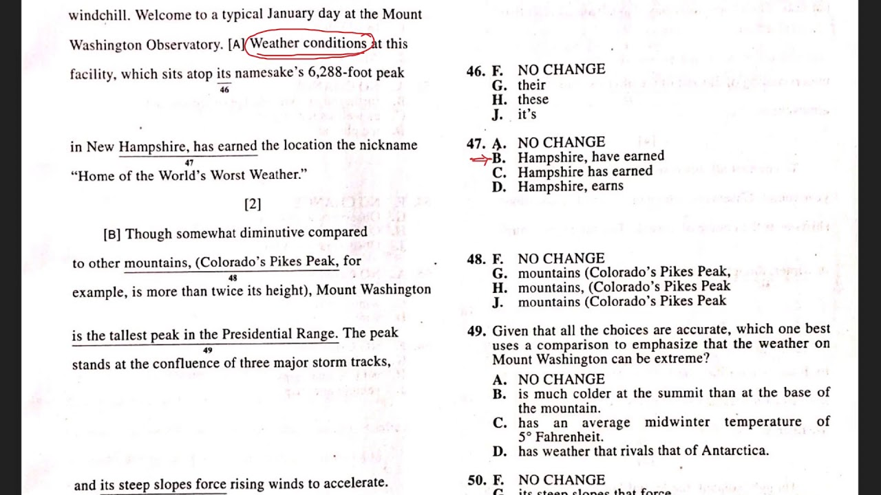 ACT Test 2 Section 1 Question 47 - YouTube