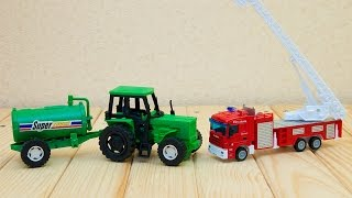 Машинки мультфильм - Мир машинок - 108 серия:  Пожарная машина, трактор. Развивающий мультик.