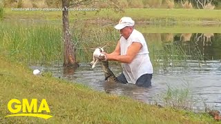 Man jumps into water, saves dog from alligator l GMA