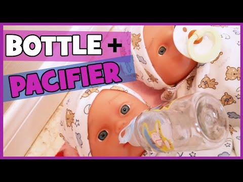 DIY Doll Pacifier & Bottle + First Feeding | SURPRISE TWIN BOYS Part 4 | BlueprintDIY Kids