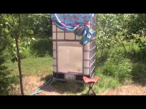 Off Grid Outdoor IBC Container Solar Shower - Heated and Pressurized