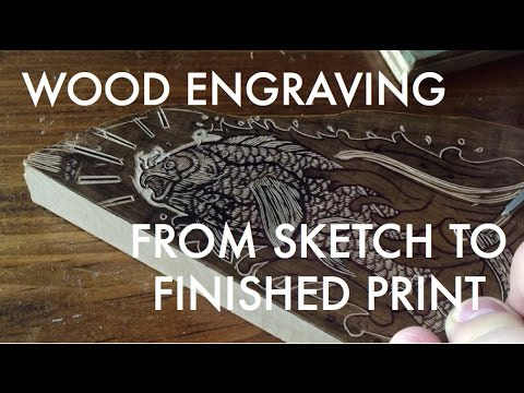 Wood Engraving From Sketch To Print : Holy Carp!