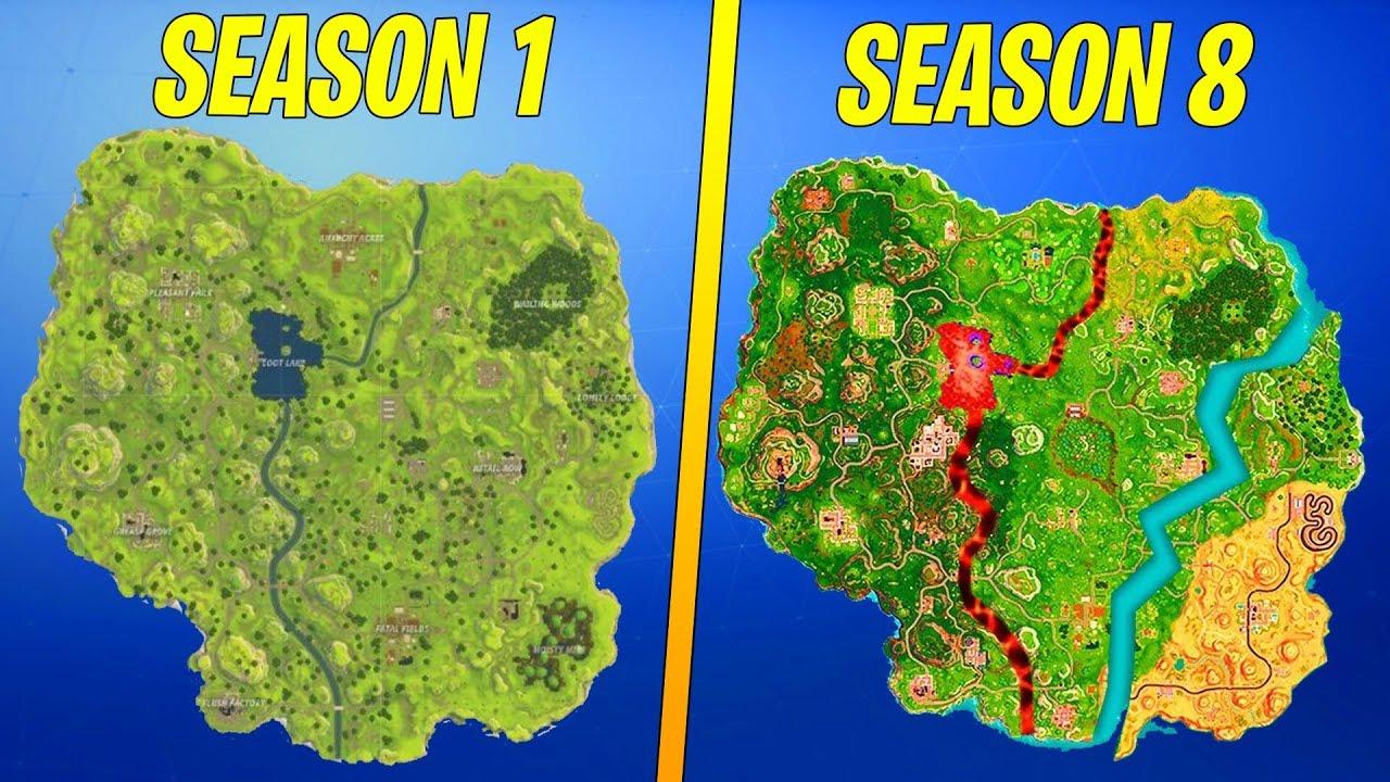 evolution of the entire fortnite island season 1 8 - dantdm fortnite season 8 map