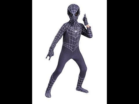 Костюм Черный Человек-паук с перчатками