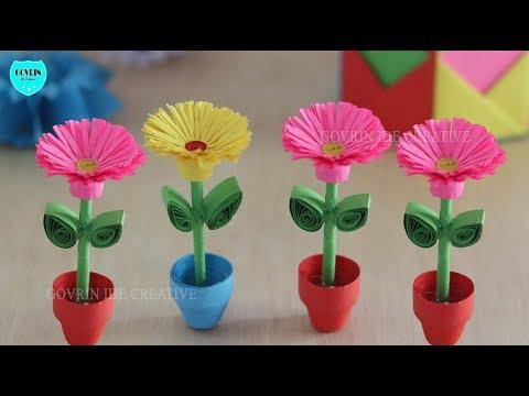 Cara Membuat Miniatur Bunga Hias Dari Kertas Origami Ide Kreatif Mudah Dan Gampang Youtube