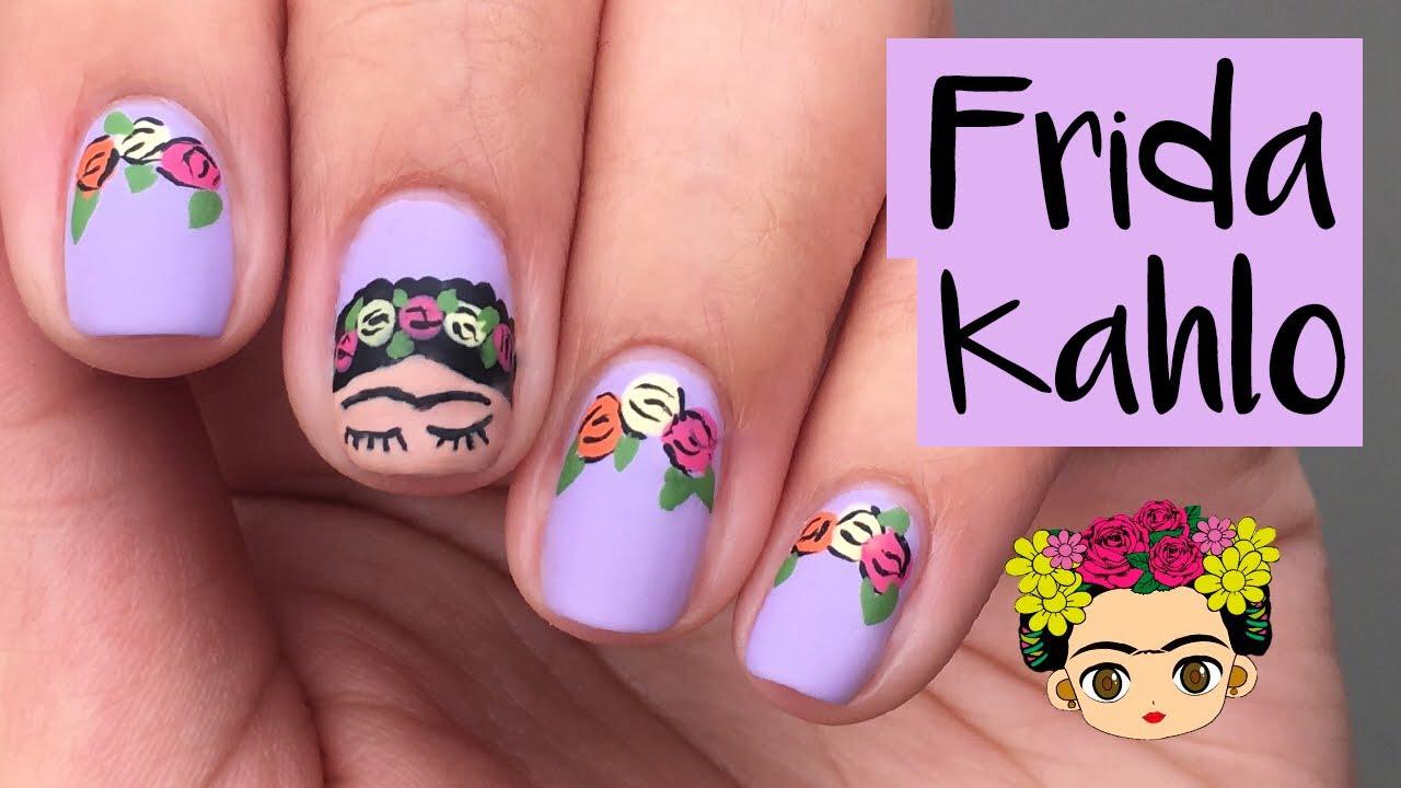 Día de la mujer   Diseño de Uñas de Frida Kahlo   adriferm - YouTube