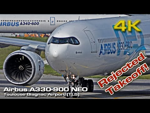 Airbus A330-900 NEO [4K] Rejected takeoff! (Close view)