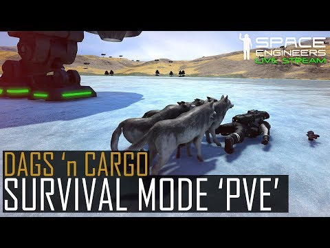 Space Engineers: SURVIVAL MODE 'PVE'? - Planetary Cargo Ships + Pirates + Dags