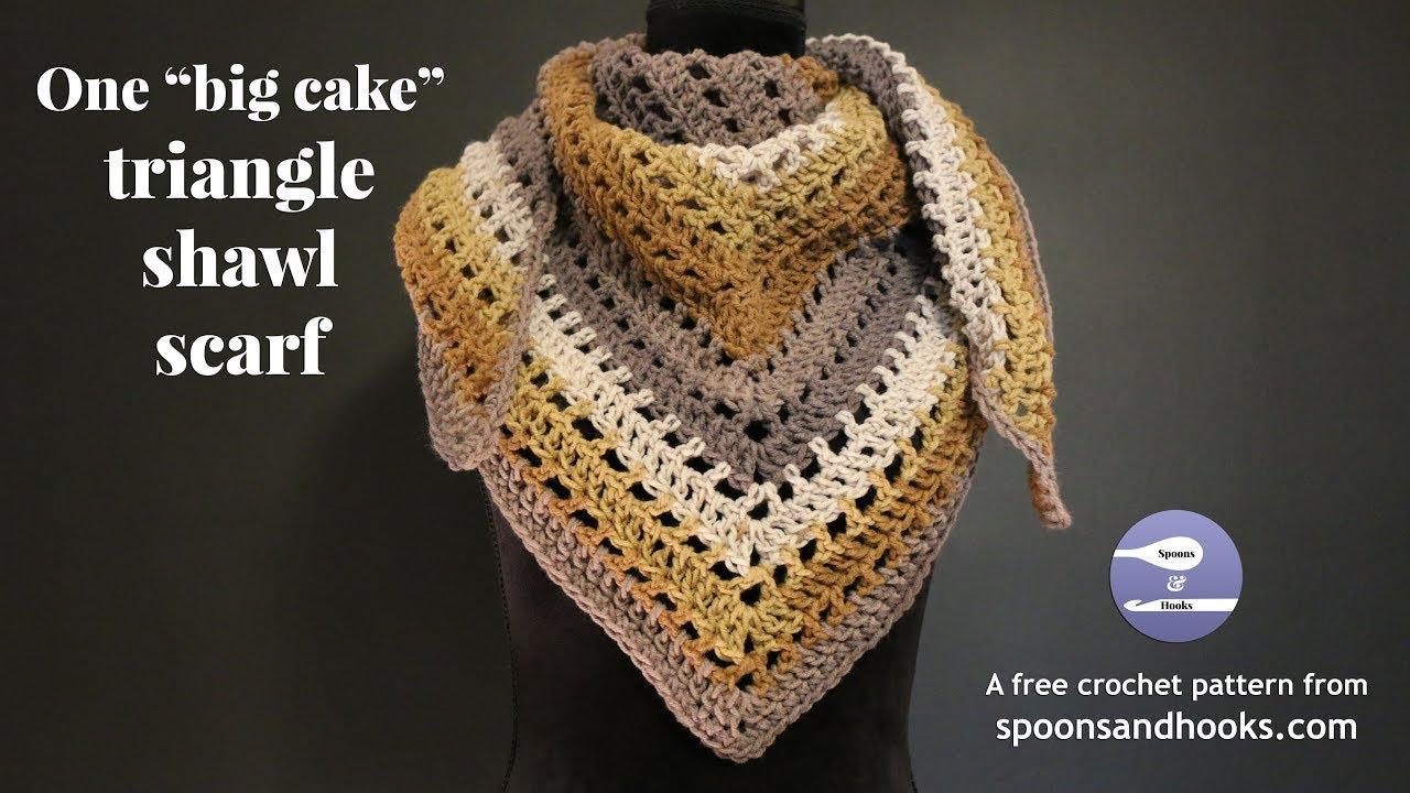 "One ""big cake"" triangle shawl scarf (free crochet pattern ..."