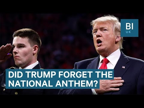 Trump appears to forget the national anthem at Atlanta football game