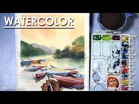 Watercolor Fishing Boats At Sunset Landscape Painting