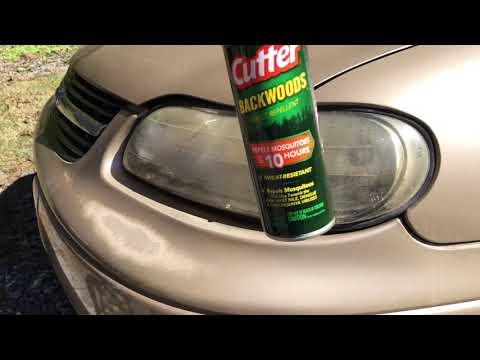 Bug spray 2 clean yellow/foggy headlights