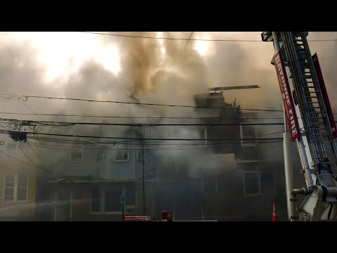 BAYONNE FIRE DEPARTMENT, ALONG WITH MUTUAL AID, BATTLE A 5TH ALARM FIRE ON ANDREWS ST. IN BAYONNE.