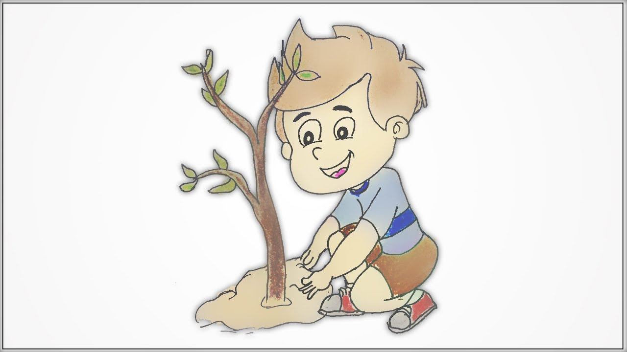 How to draw a cute Kid boy planting a tree step by step ...