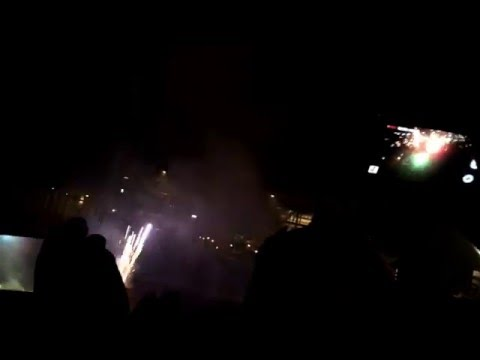 Happy New Year 2016 Fireworks, St  Pauli Landungsbrucke, Hamburg, Germany 4k