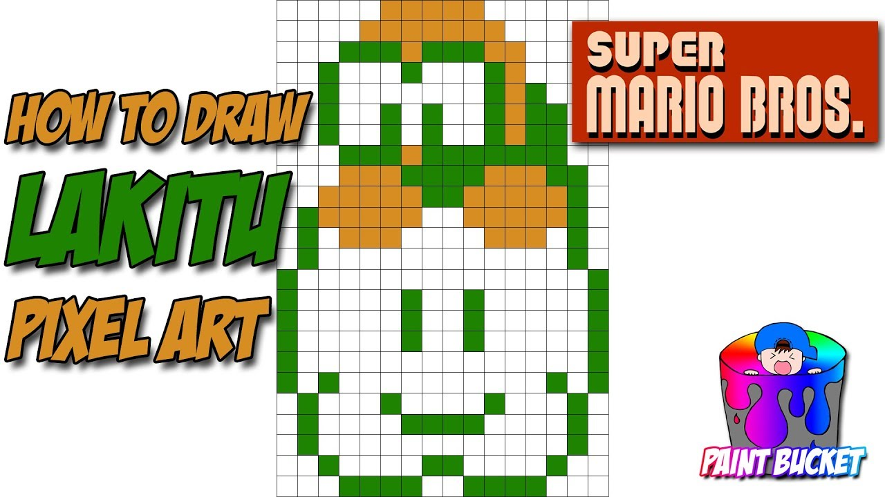 How To Draw Lakitu Super Mario Bros 8 Bit Pixel Art Drawing