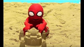 SUPERHERO BABIES PLAY ON THE BEACH Play Doh Stop Motion and Cartoons For Kids 💕 Superhero Babies