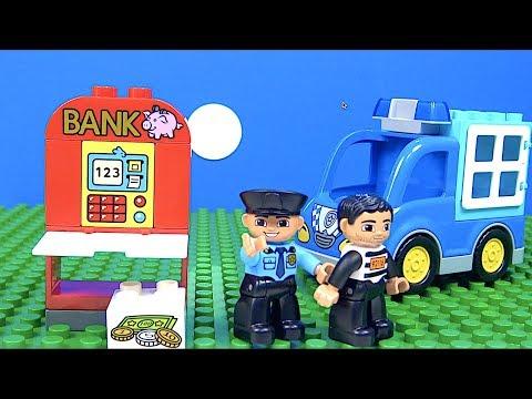 Hırsız Polis Oyunu Lego stop motion Hırsız atm makinesinden para çalıyor Lego Duplo Polis yakalıyor