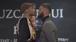 CALEB PLANT GIVES PASSIONATE SPEECH AND CHECKS JOSE UZECATEGAI FOR COMMENTS HE MADE