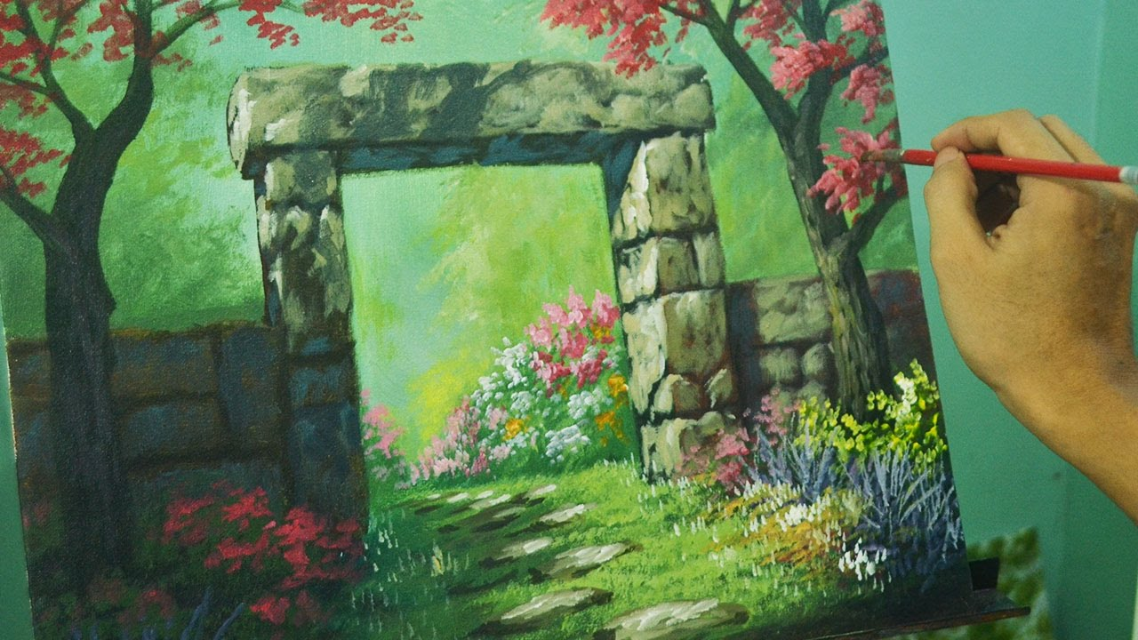 Acrylic landscape painting tutorial gateway to flower for Garden painting images