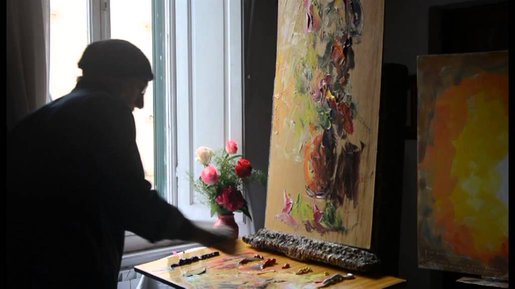 Paolo Abrans dipinge un vaso di fiori a spatola  YouTube