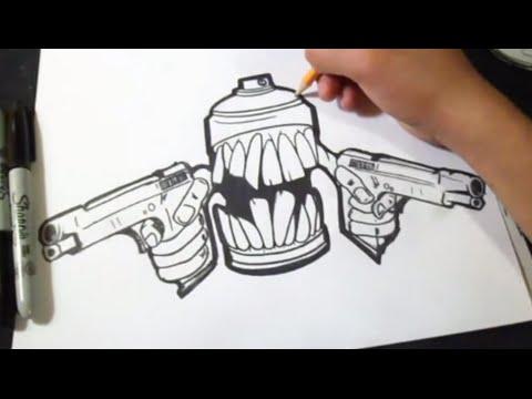 Bombolette Spray Per Murales.Come Disegnarei Bomboletta Spray Con 2 Armi Graffiti