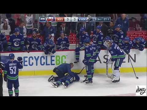 Brock Boeser Scary Injury with Bench Door [HD]