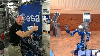 Alexander Gerst controls Justin humanoid robot from the ISS