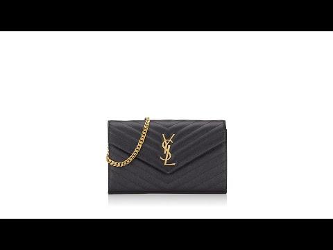Saint Laurent Grain De Poudre Matelasse Chevron Monogram Chain Wallet Black