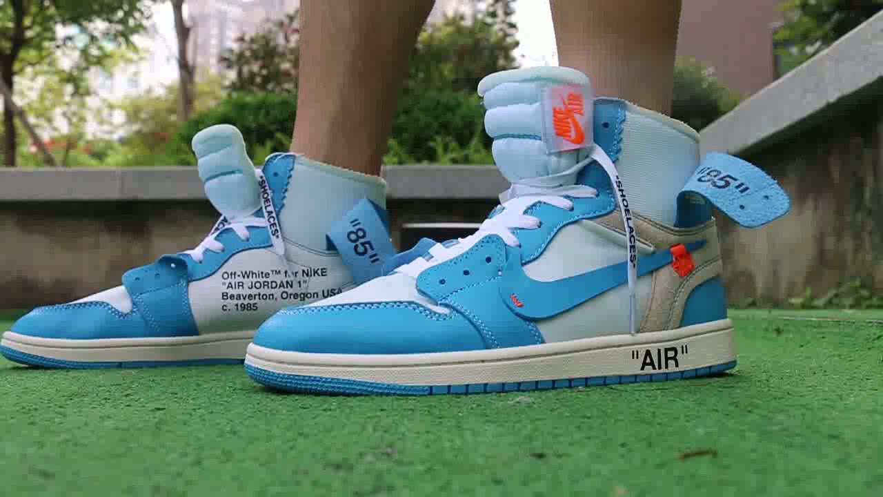 0802ffdcb9f OFF WHITE x Air Jordan 1 UNC on foot Review - YouTube