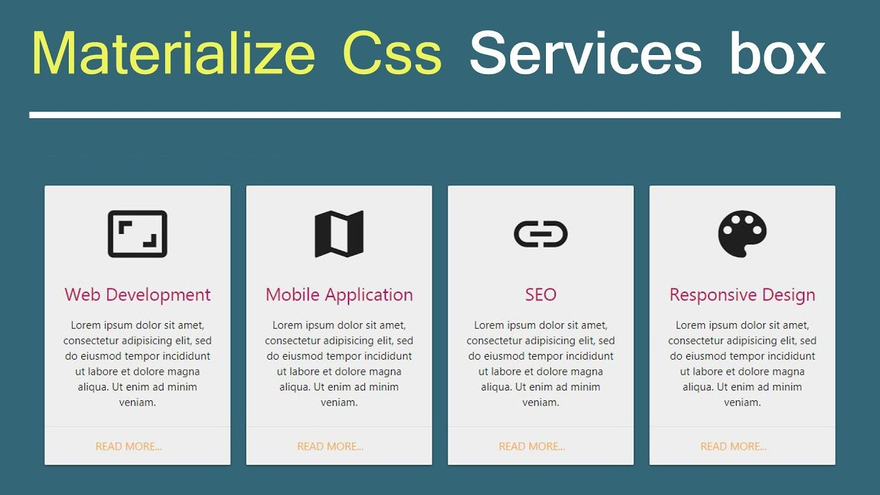 Materialize Css - Services card box design