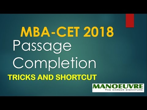 MBA-CET 2018 -(ENGLISH) PASSAGE COMPLETION TRICKS AND STRATEGY