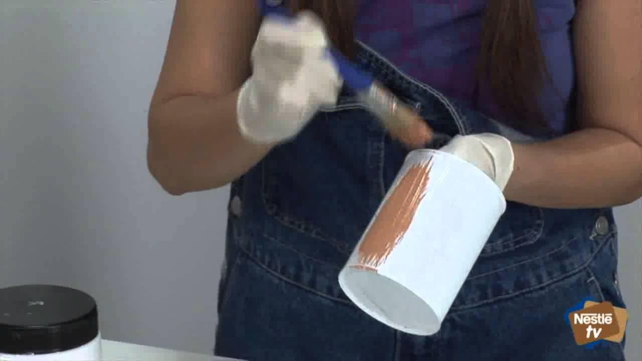 Macetero con latas de la lechera manualidades nestl - Como hacer maceteros grandes ...
