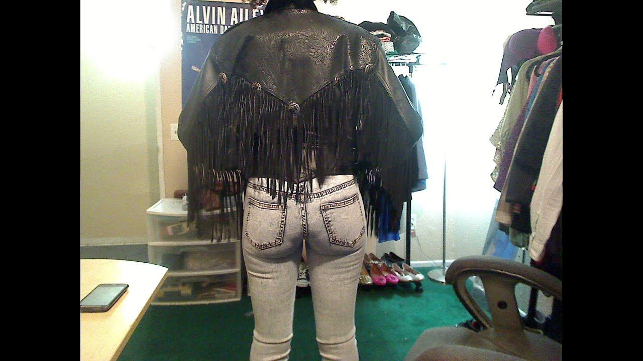 Leather jacket diy - Vintage Leather Fringed Jacket