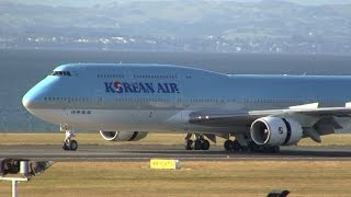 korean air first boeing 747 8 in new zealand auckland airport