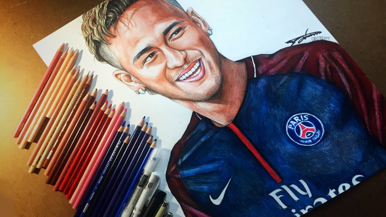 Drawing neymar jr from psg 2017 2018