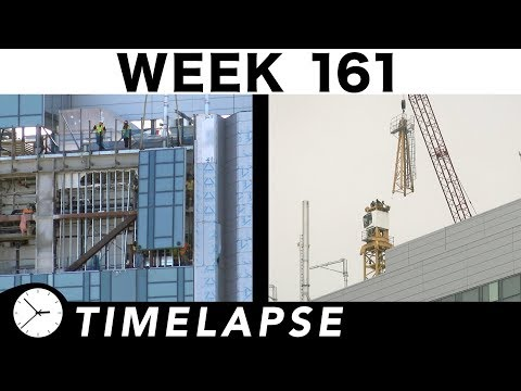 One-week construction time-lapse: Week 161: Last curtain wall; bye to tower crane 1