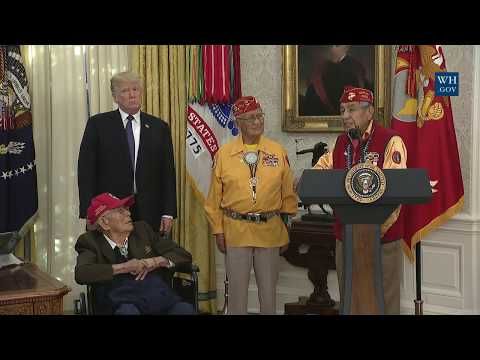 President Trump Hosts An Event Honoring The Native American Code Talkers