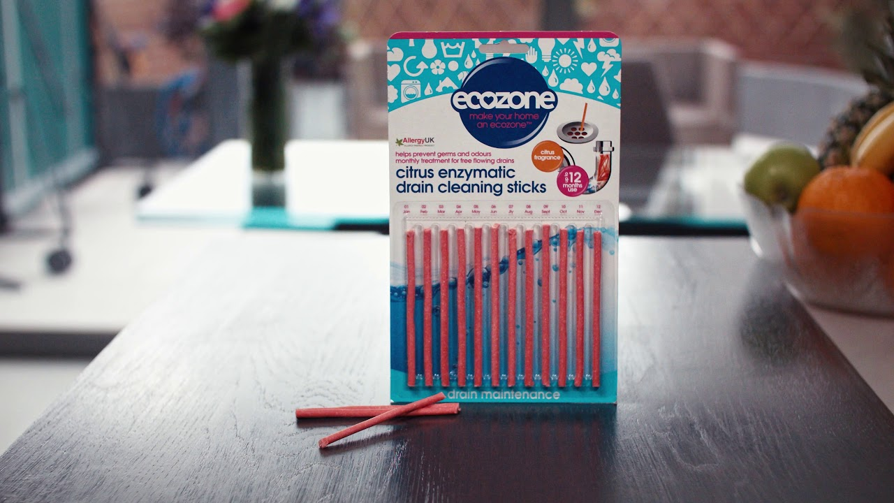 Ecozone Enzymatic Drain Cleaning Sticks 12 Prevents Blockages Odours